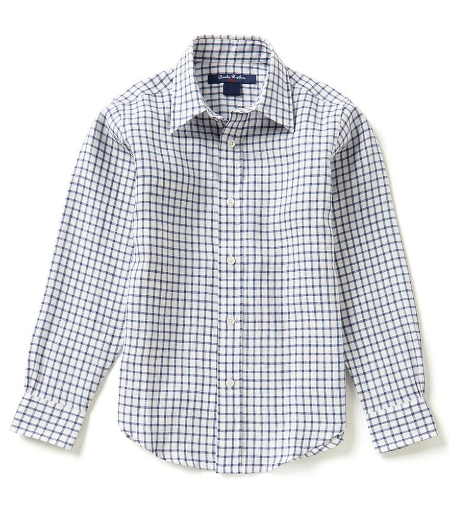 Brooks Brothers 4-20 Mini Checked Linen Shirt