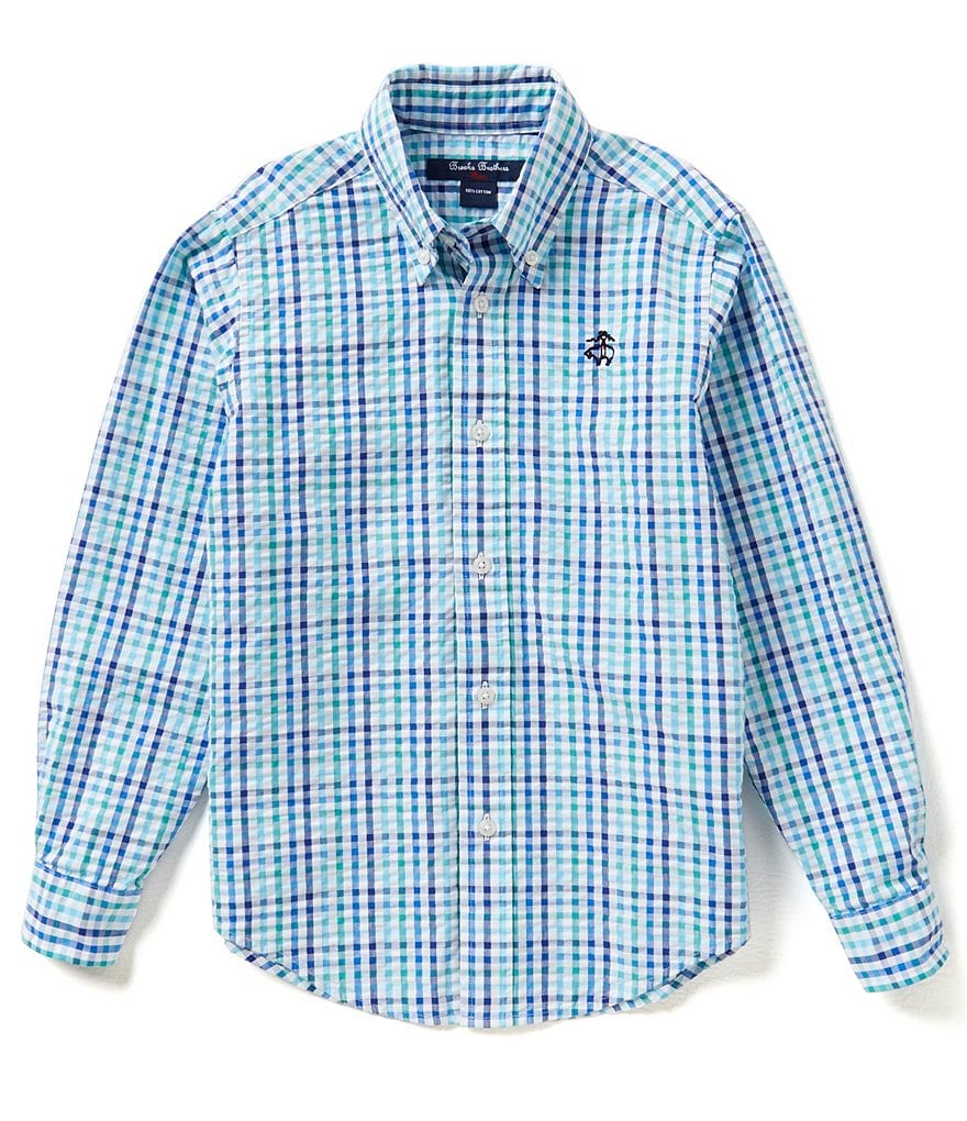 Brooks Brothers 4-20 Seersucker Checked Woven Shirt