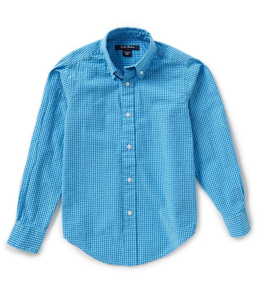 Brooks Brothers 4-20 Gingham Seersucker Woven Shirt