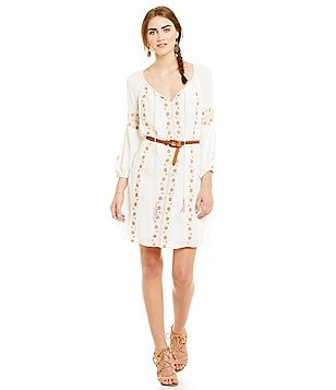 Chelsea & Violet Embroidered Dress with Belt