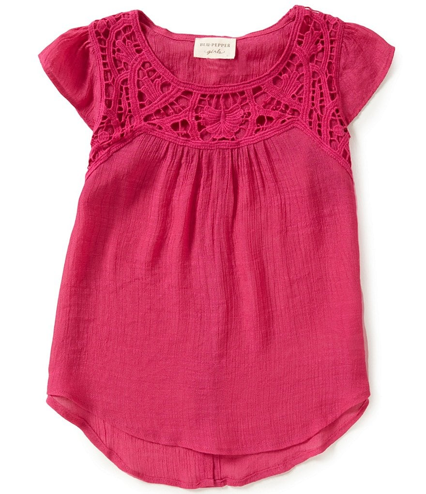 Blu Pepper Big Girls 7-16 Crochet Short Sleeve Top