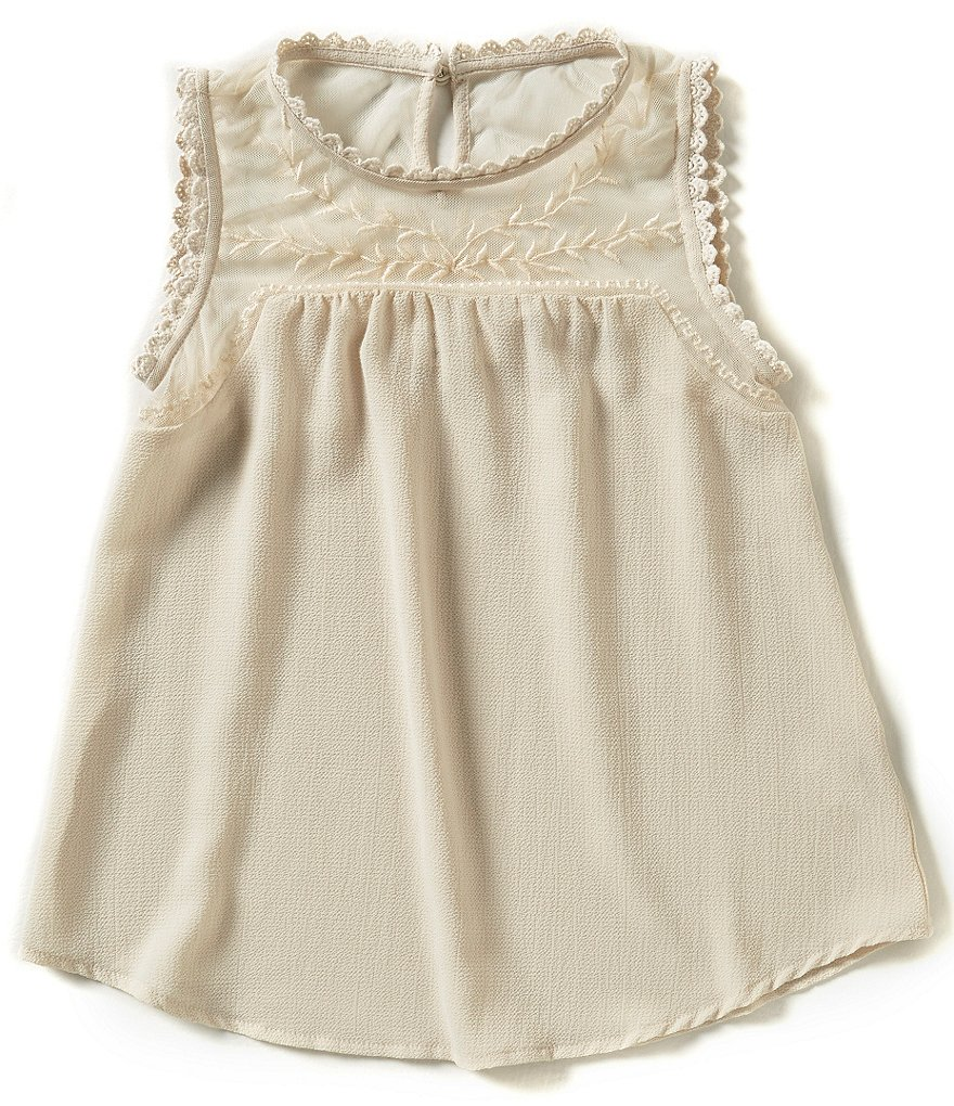 Blu Pepper Big Girls 7-16 Mesh Embroidery Tank Top