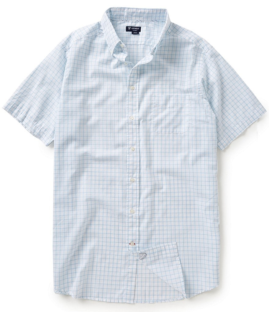 Cremieux Big &Tall Short-Sleeve Check Oxford Woven Shirt