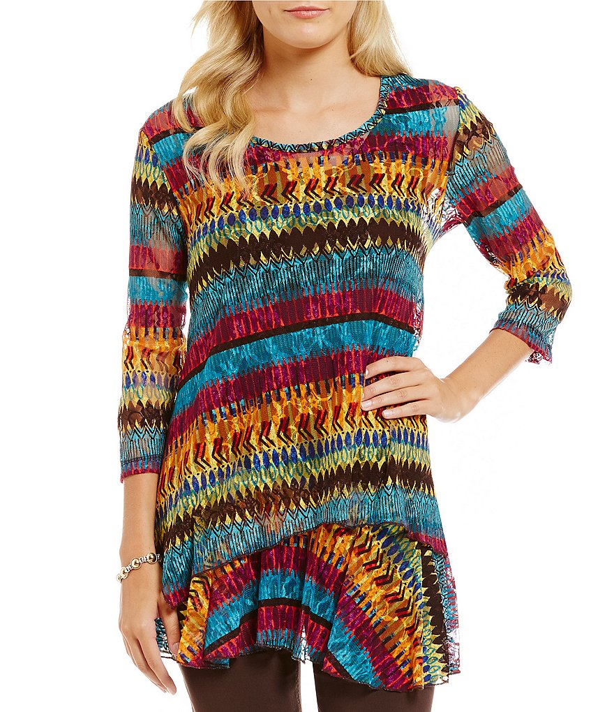 Multiples Scoop-Neck Print Lace Tunic with Attached Extender