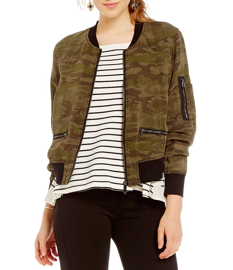 Sanctuary Shrunken Camo Linen Bomber Jacket