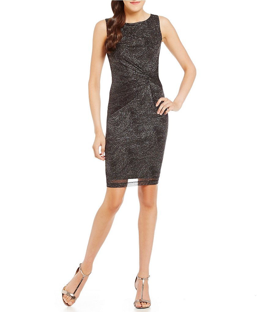 Calvin Klein Sparkle Twist Knot Sheath Dress
