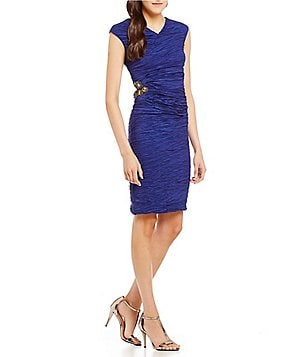 Calvin Klein Crushed Taffeta Side Detail Rouched Social Dress