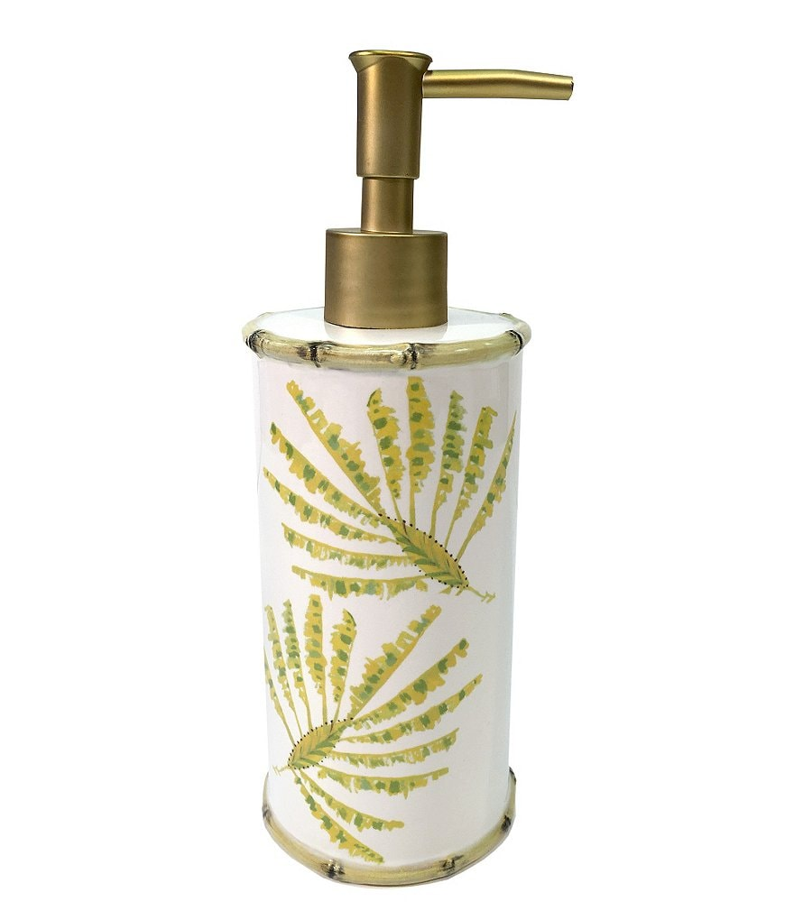 Dena Home Tropical Palms Bamboo Ceramic Lotion Dispenser