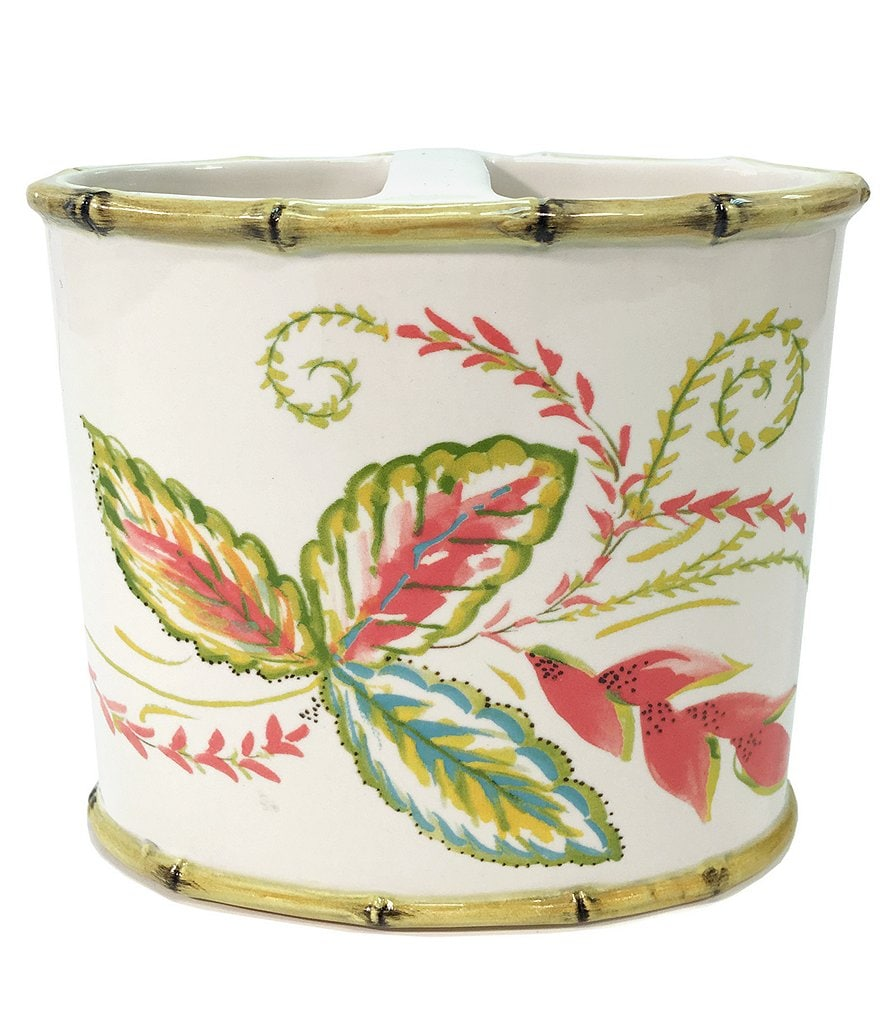 Dena Home Tropical Palms Floral & Bamboo Ceramic Toothbrush Holder
