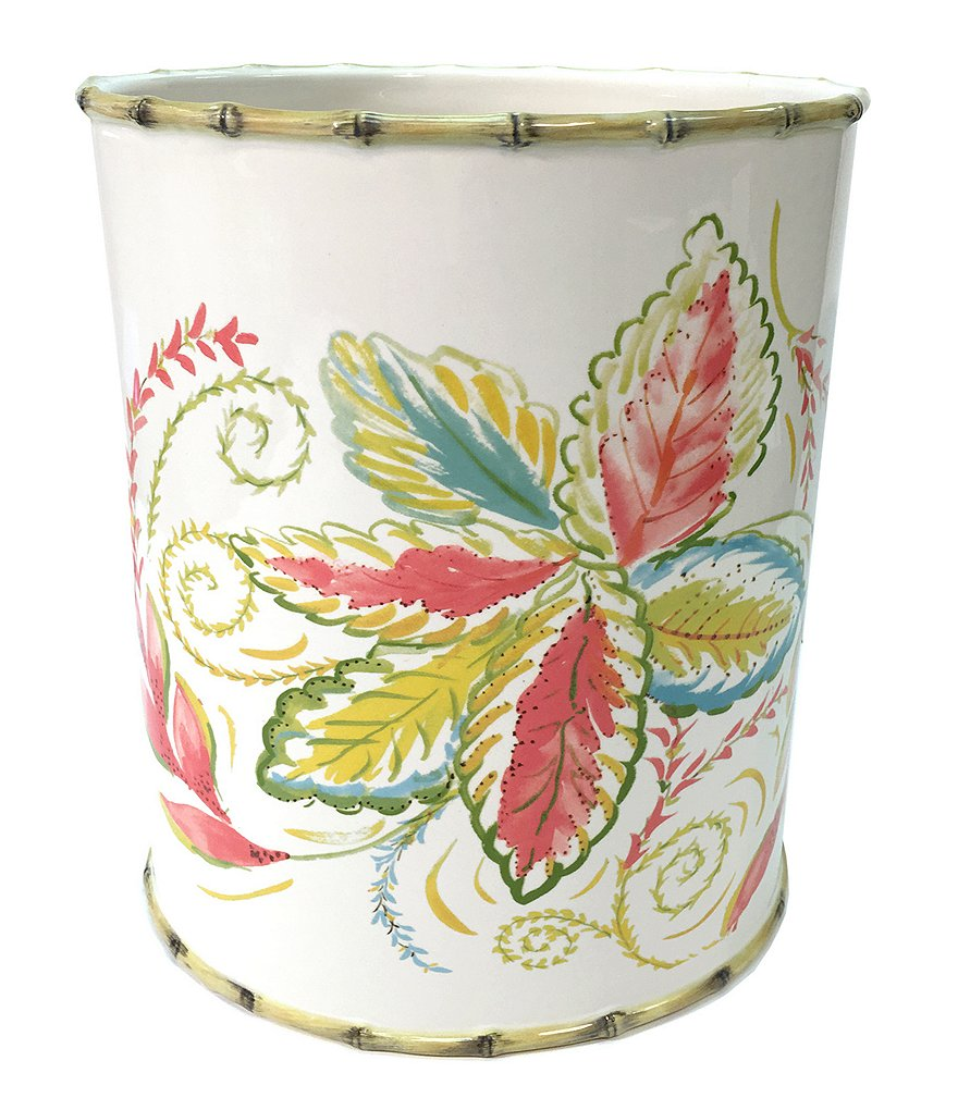 Dena Home Tropical Palms Floral & Bamboo Ceramic Wastebasket