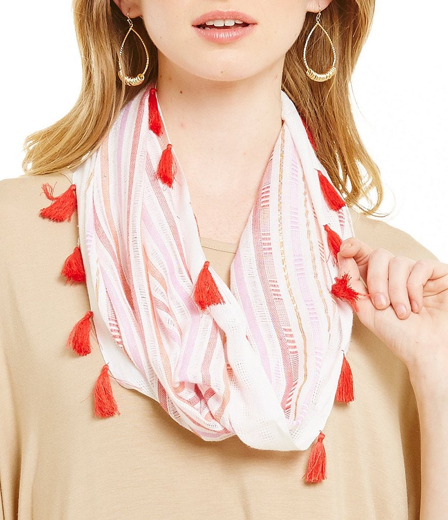 Collection 18 Striped Tassel Trim Mini Infinity Scarf