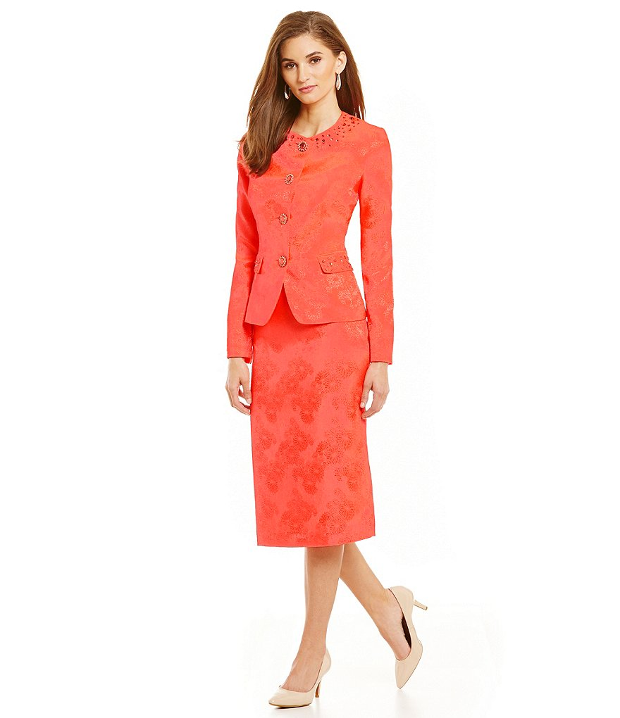 John Meyer 2-Piece Beaded Jaquard Skirt Suit
