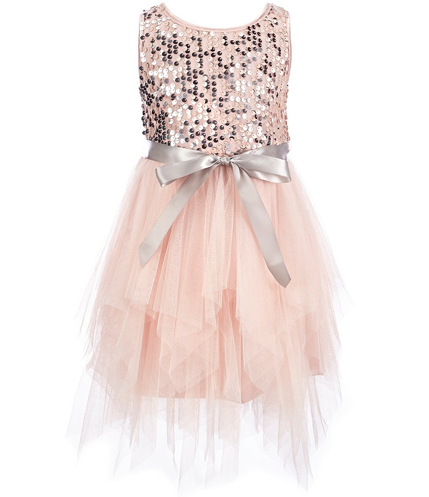 Zunie Little Girls 2T-6X Sequin-Embellished-Bodice Mesh-Skirted Dress