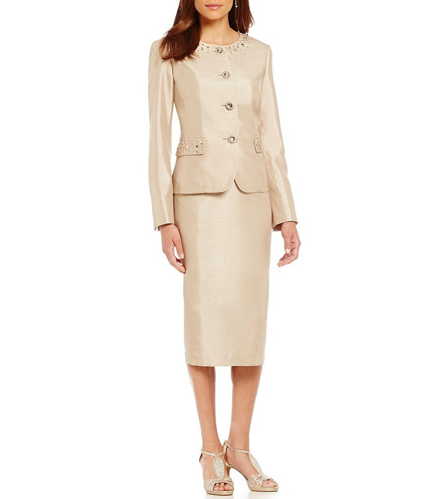 John Meyer Beaded Shantung Skirt Suit
