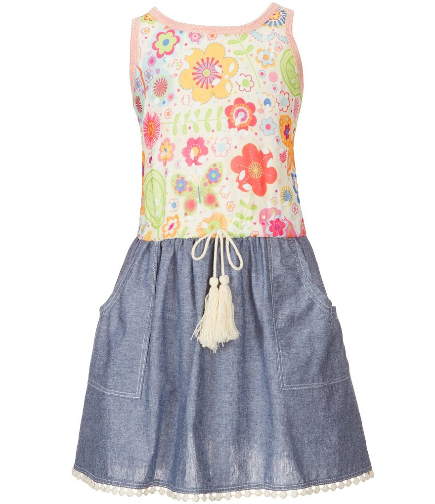 Ella and Lulu Little Girls 2T-6X Mixed-Media Butterfly-Printed-Bodice Chambray-Skirted Dress