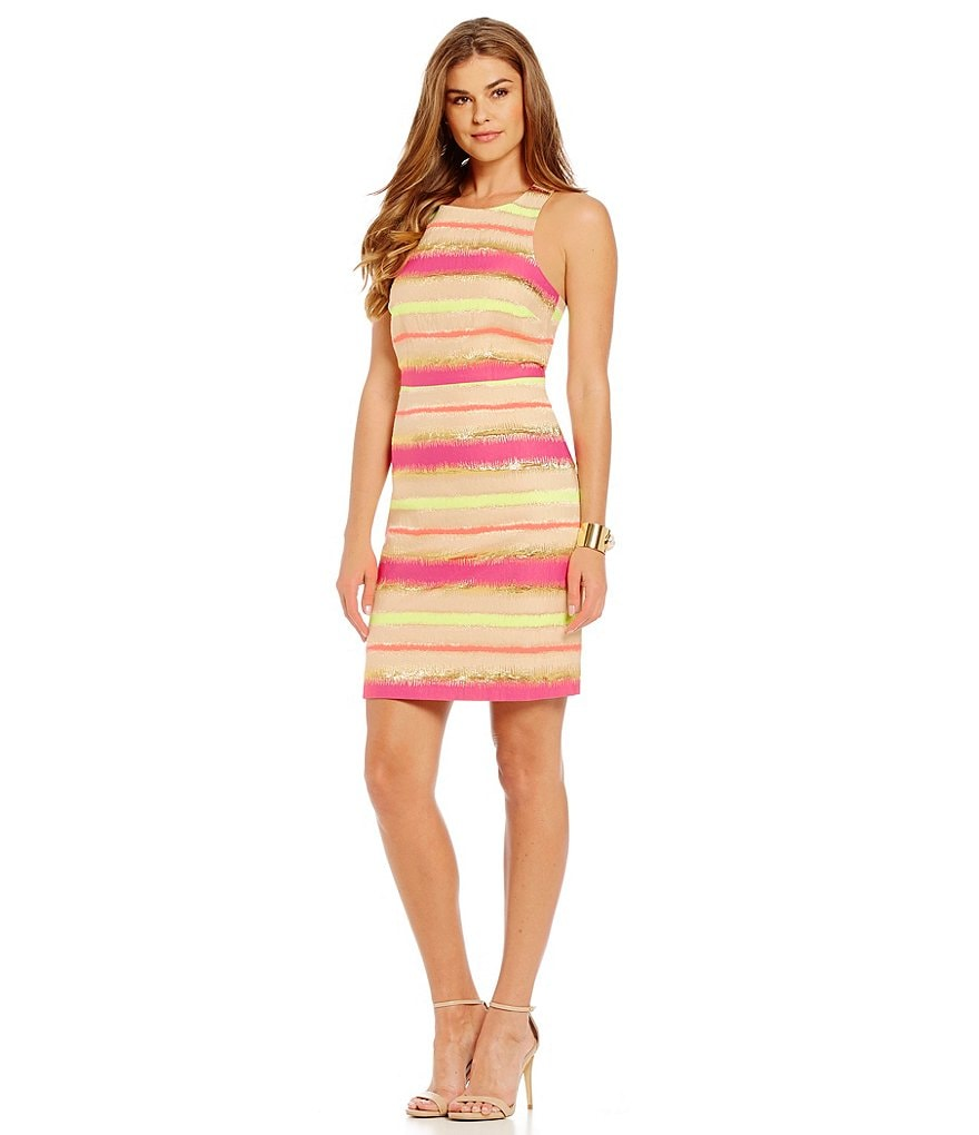 Laundry By Shelli Segal Multi Stripe Fit-and-Flare Dress