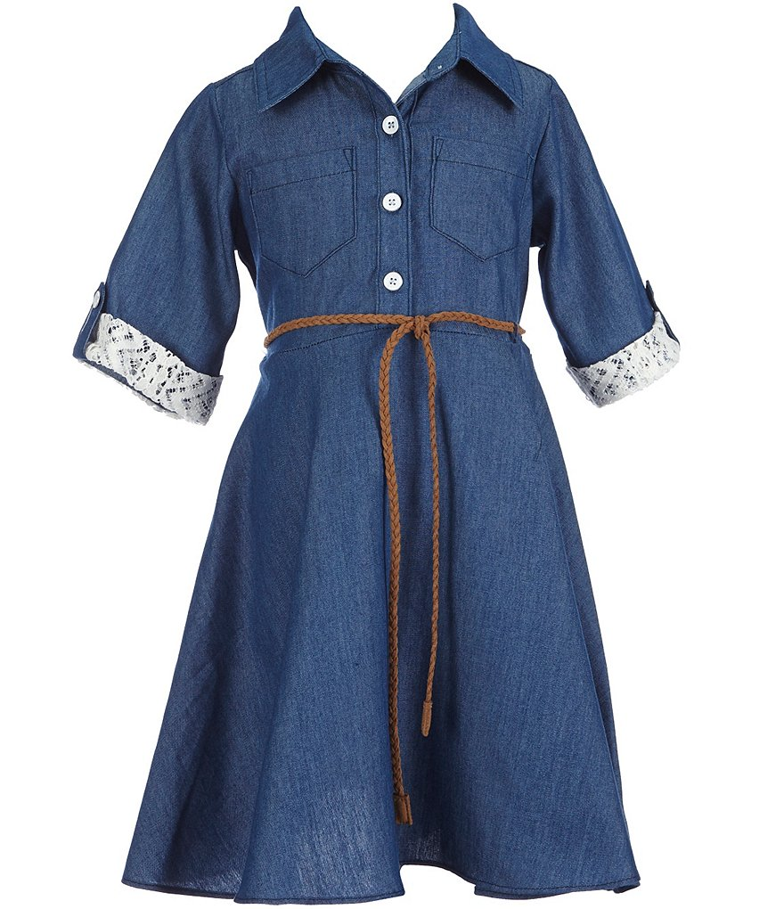 Sweet Heart Rose Little Girls 2T-6X Chambray Belted Dress
