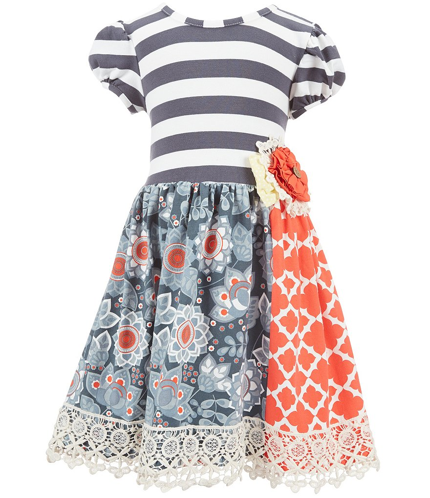 Counting Daisies Little Girls 2T-6X Mixed Print Knit Dress