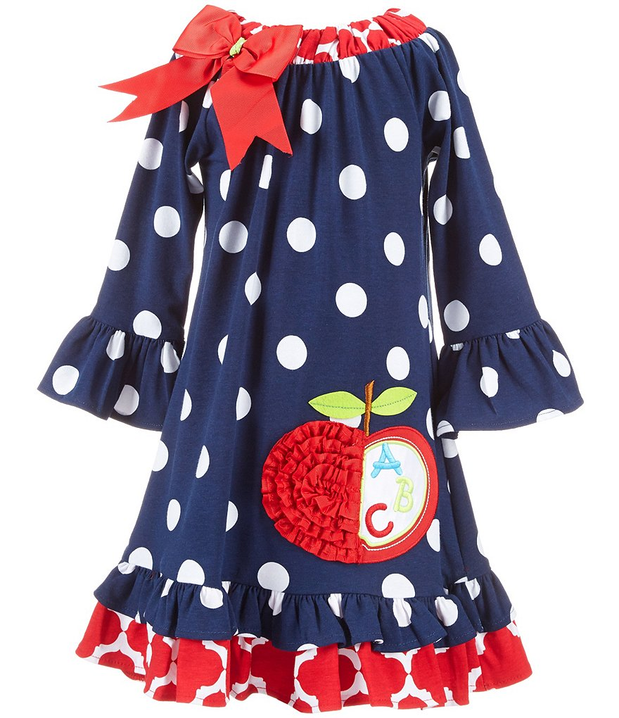 Rare Editions Little Girls 2T-6X Back-to-School Apple Applique Dress