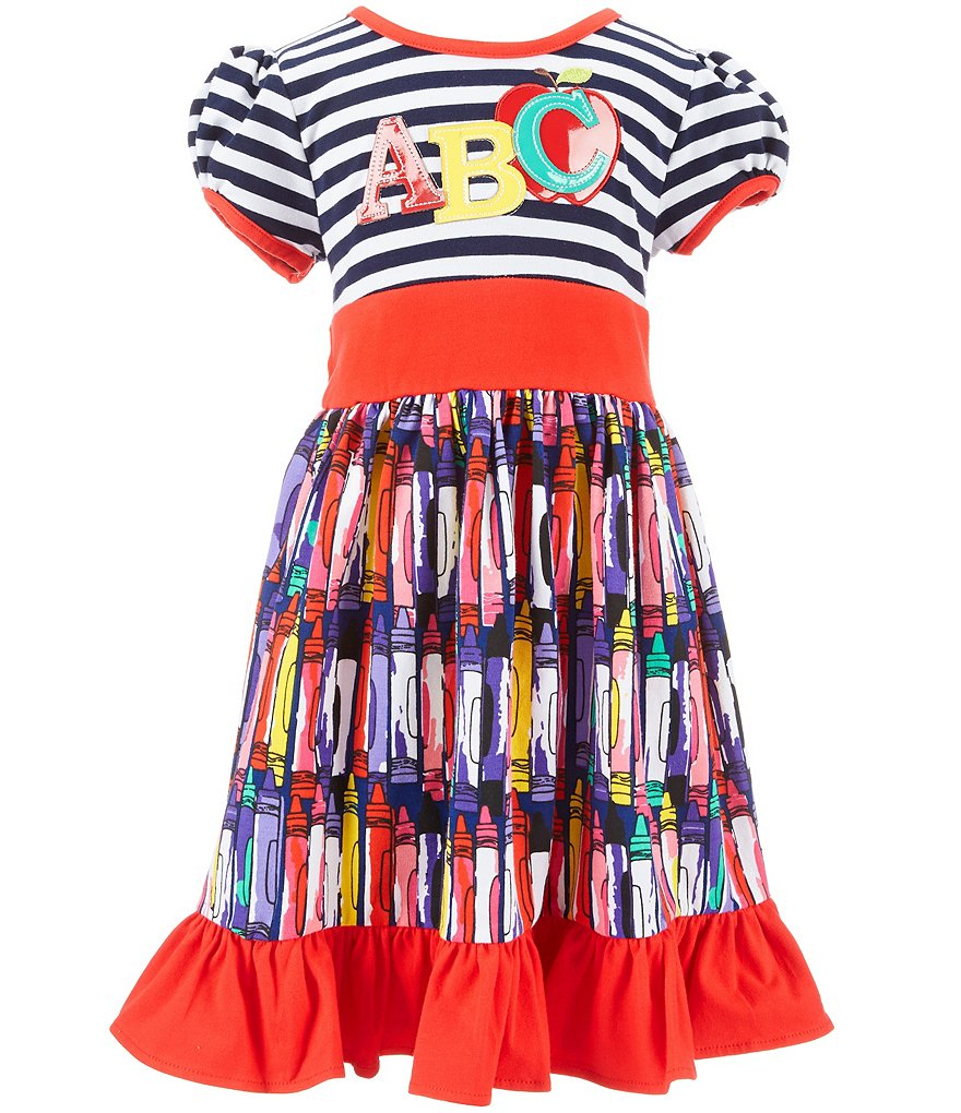 Rare Editions Little Girls 2T-6X Back-to-School ABC Applique Dress
