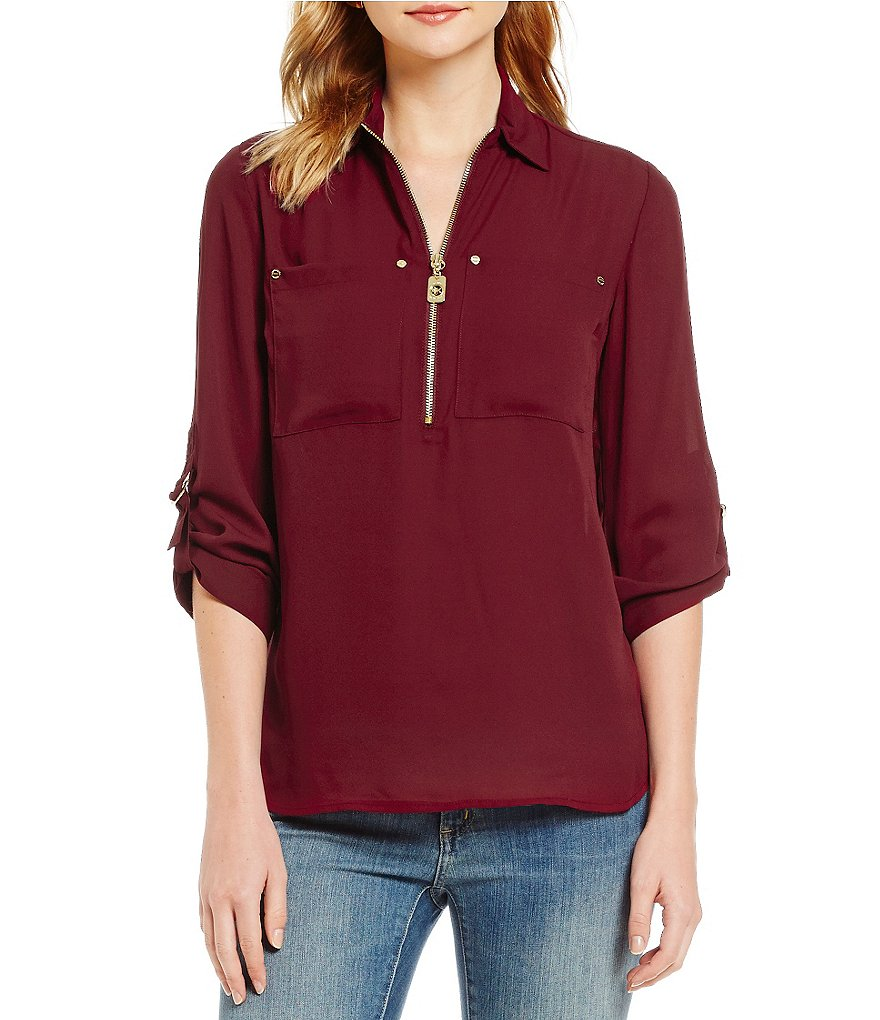 MICHAEL Michael Kors Liquid Crepe Hi-Low Hem Tunic Shirt