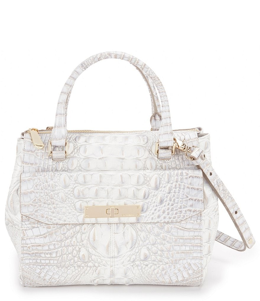 Brahmin Melbourne Collection Malia Croco-Embossed Satchel