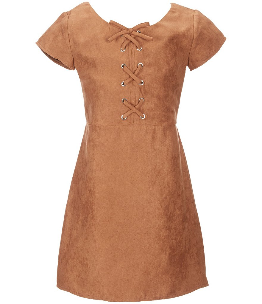 I.N. Girl Big Girls 7-16 Faux-Suede Grommets Dress