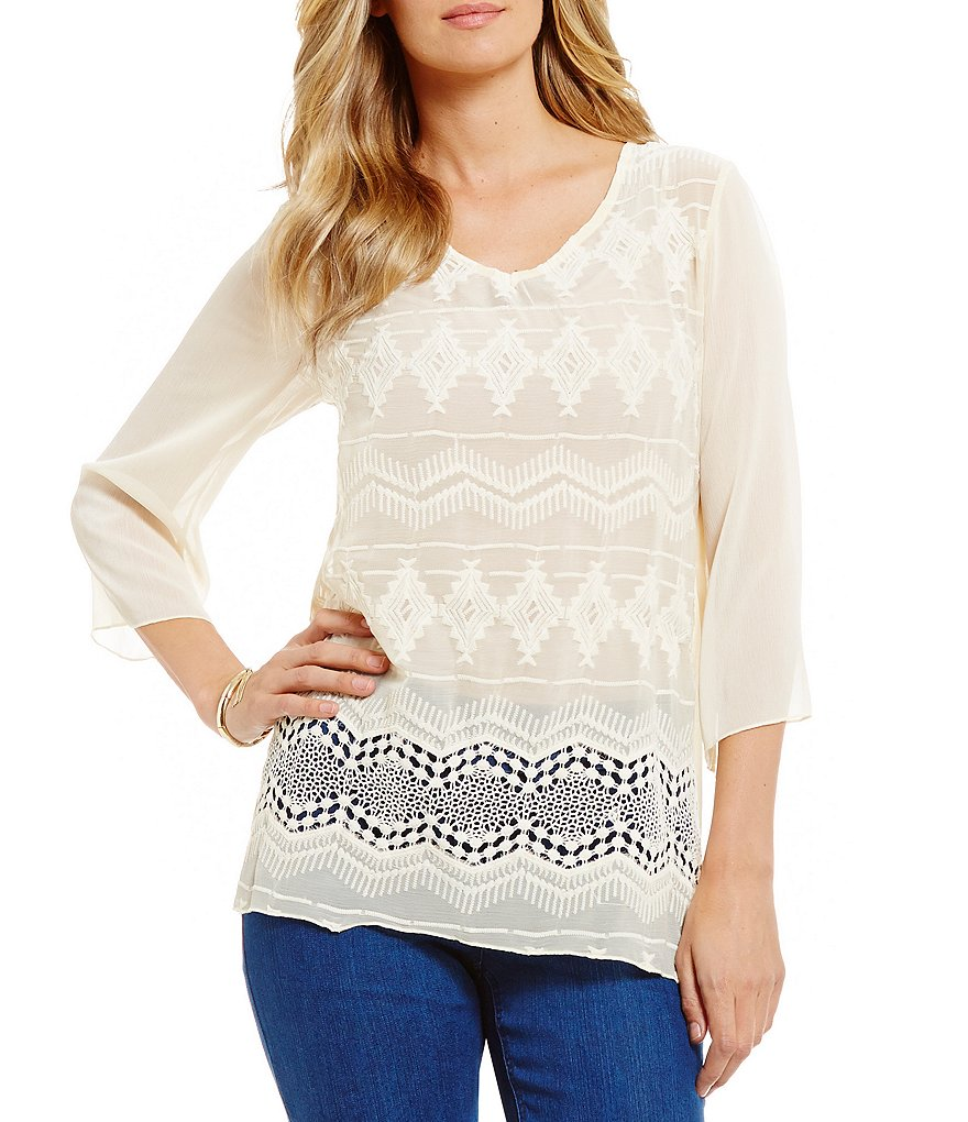 Multiples V-Neck All Over Embroidered 3/4 Sleeve Top