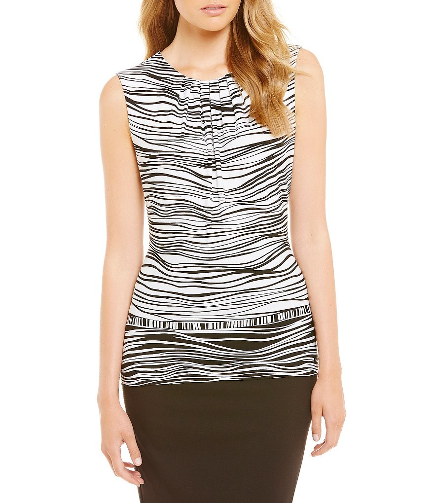 Calvin Klein Wavey Border Stripe Printed Matte Jersey Pleat Neck Shell