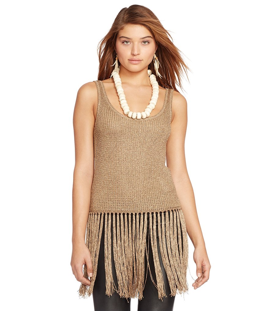 Polo Ralph Lauren Fringed Metallic Sweater Tank