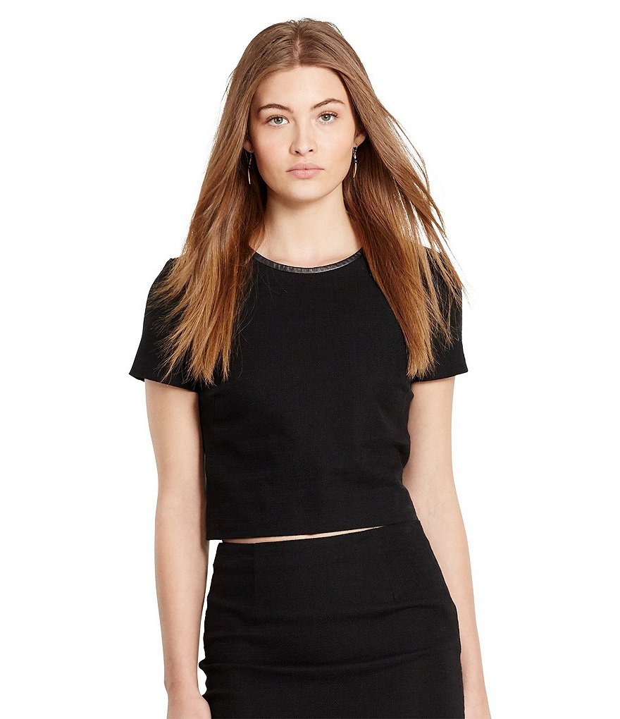 Polo Ralph Lauren Leather-Trim Tweed Crop Top