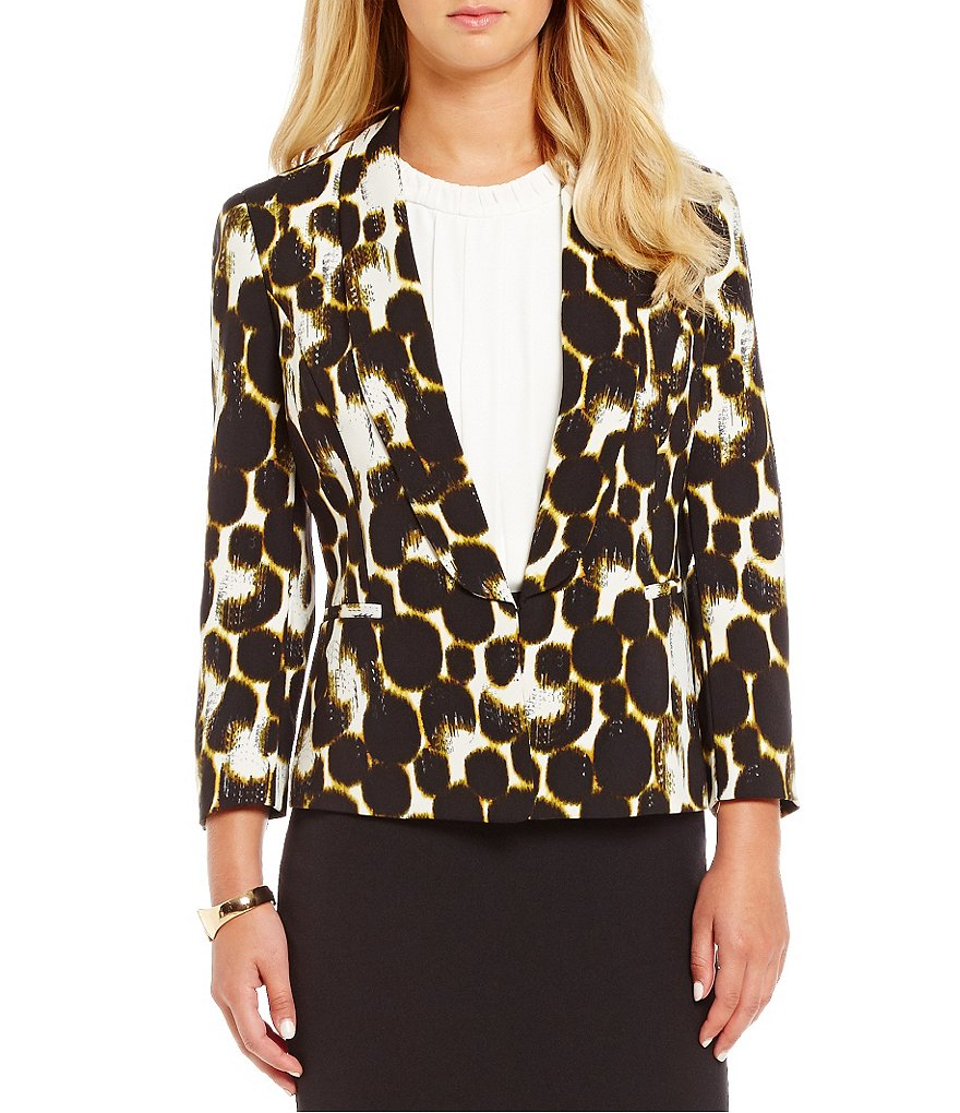 Kasper Shantung Printed Long Sleeve V-Neck Jacket
