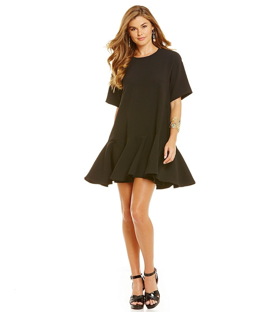 French Connection Arrow Crepe Drop Waist Ruffle Dress