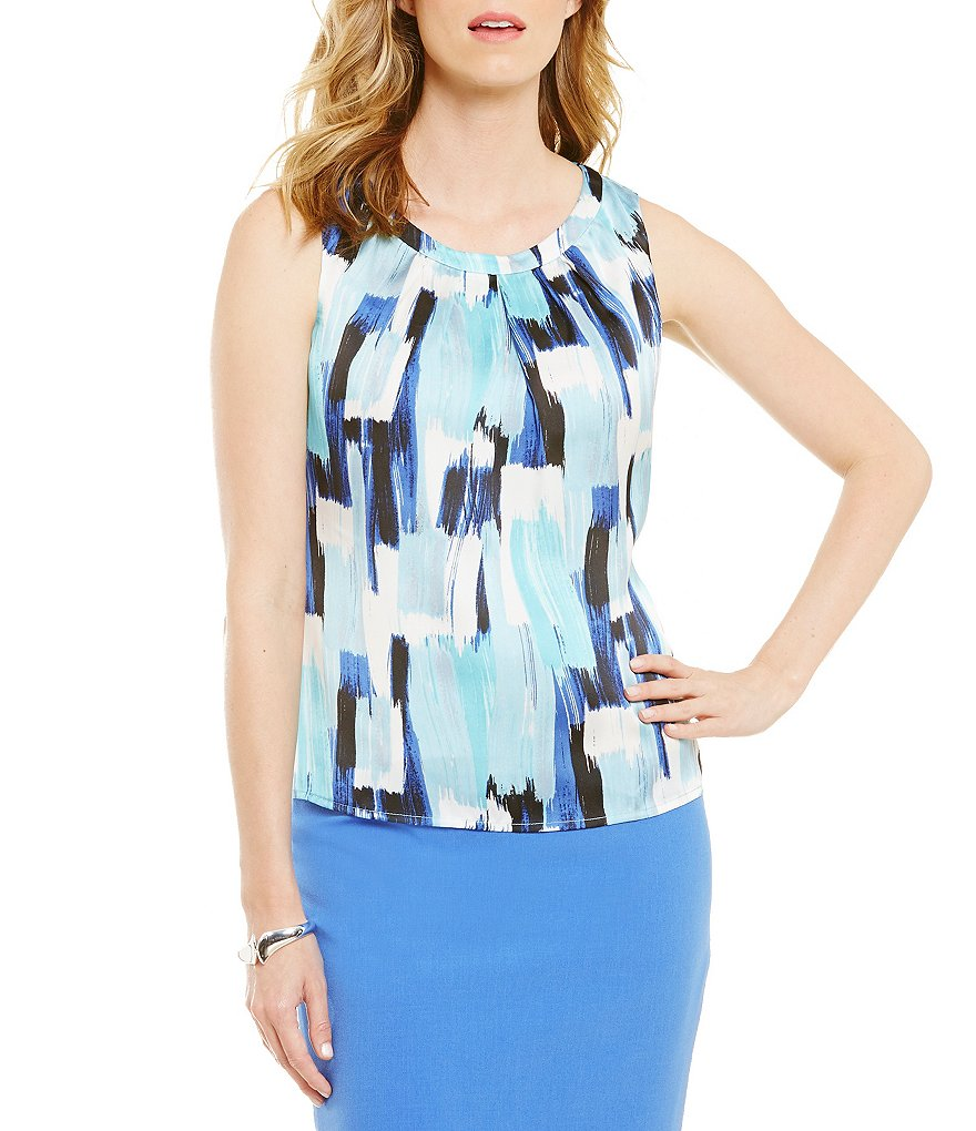 Kasper Watercolor Sleeveless Print Top
