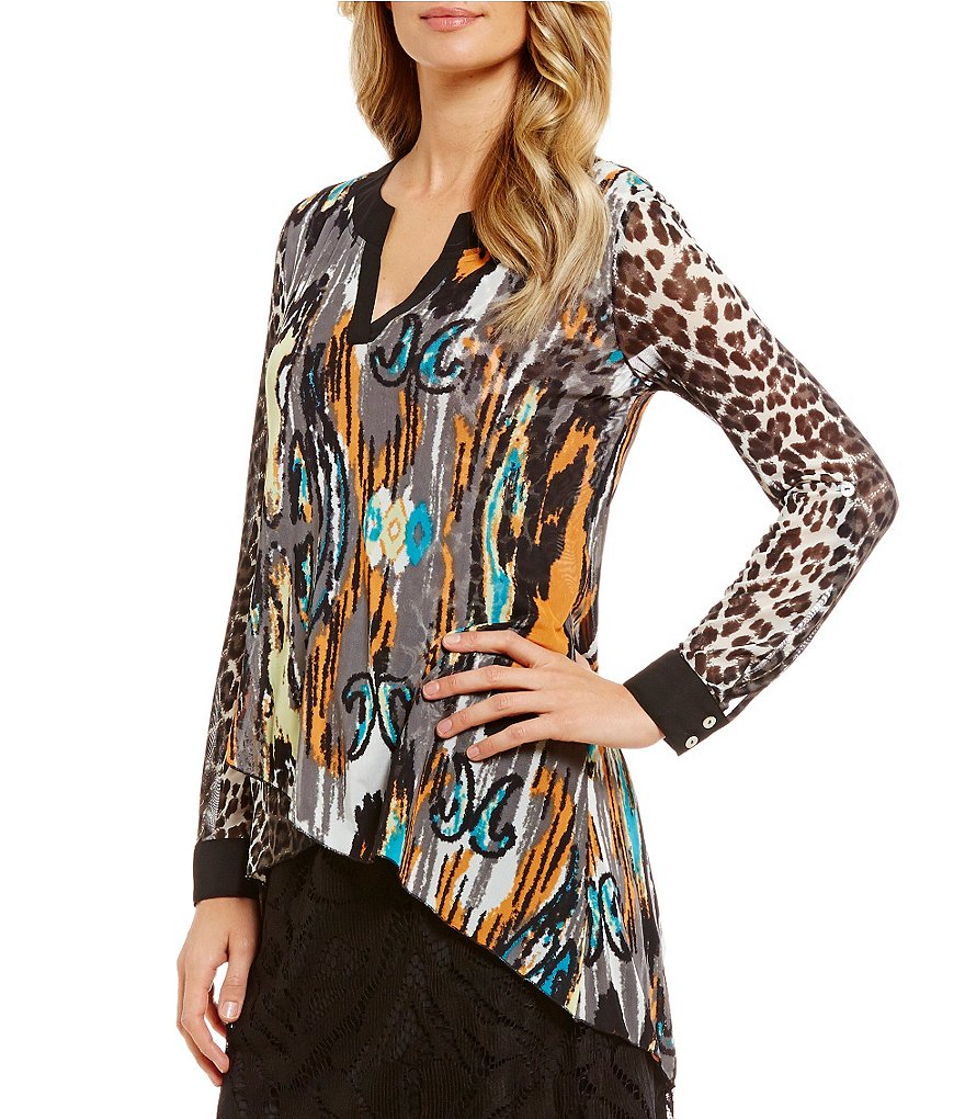 Multiples Hi-Low Abstract Animal Print Cuffed Long Sleeve Top