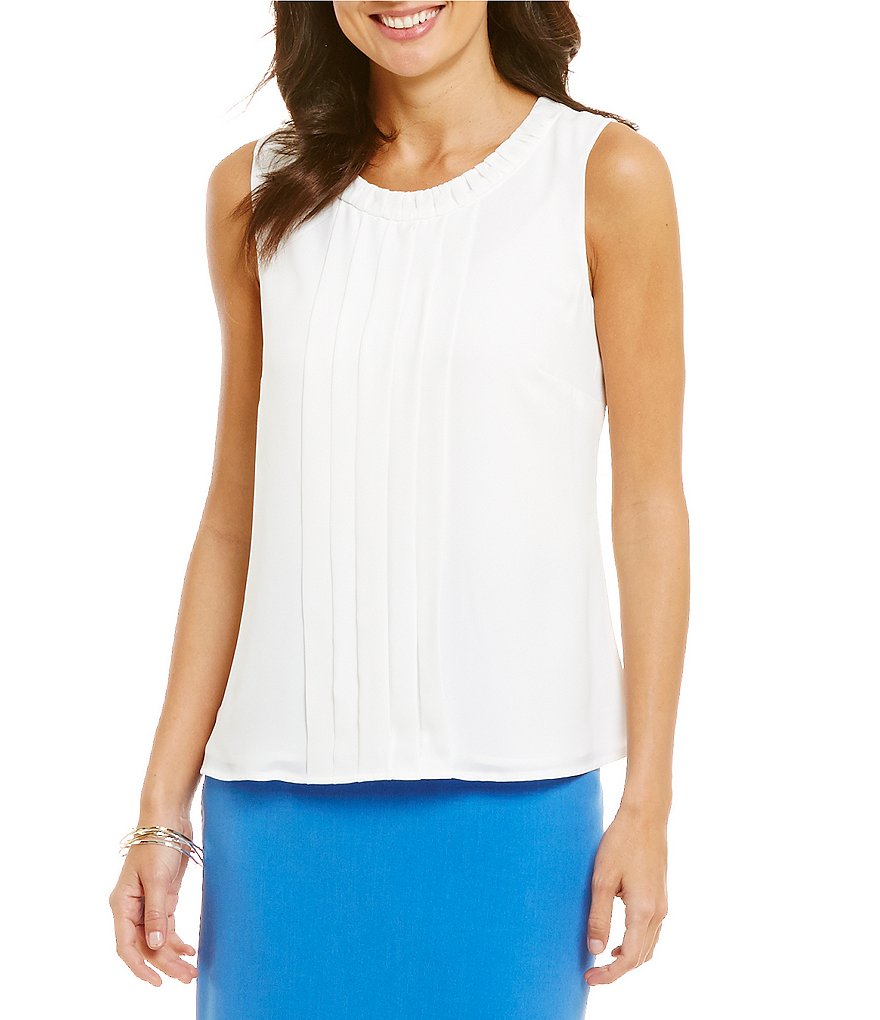 Kasper Petite Pleat Neck Sleeveless Top