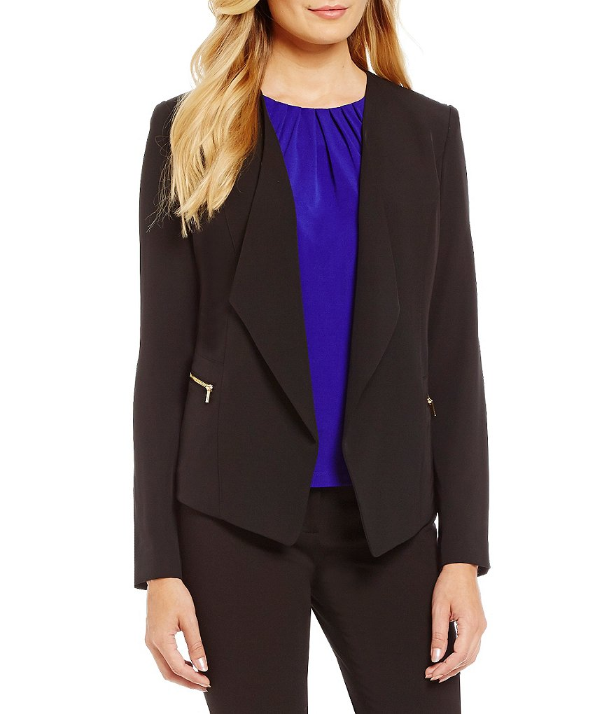 Calvin Klein Petites Soft Suiting Open Drape Front Jacket