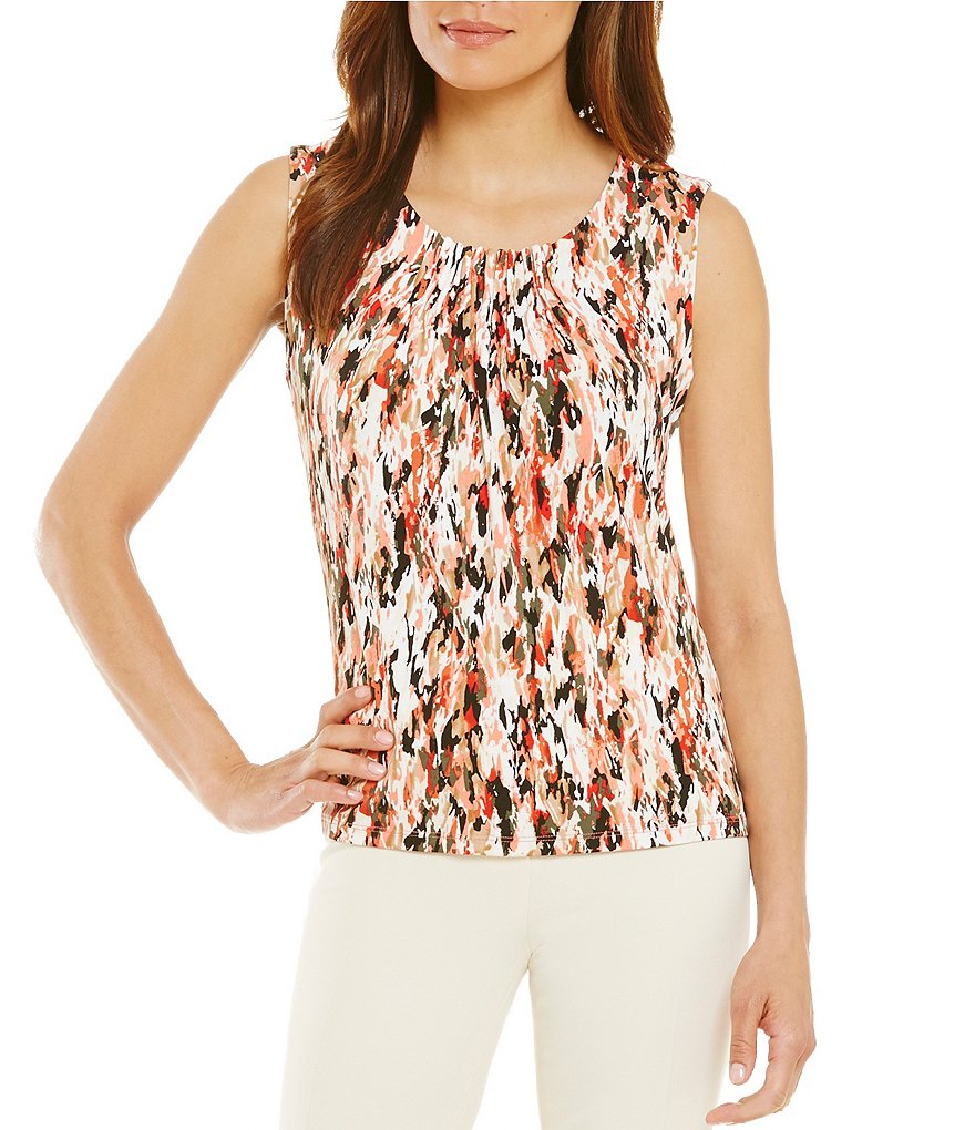 Kasper Petite Printed Pintuck Sleeveless Top