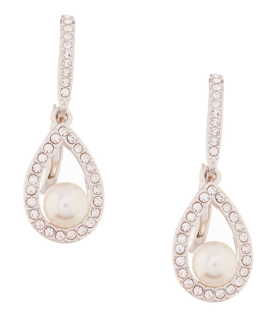 Nadri Pearl Framed Teardrop Earrings