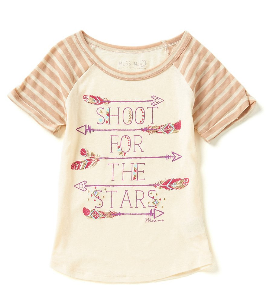 Miss Me Girls Big Girls 7-16 Shoot For The Stars Tee