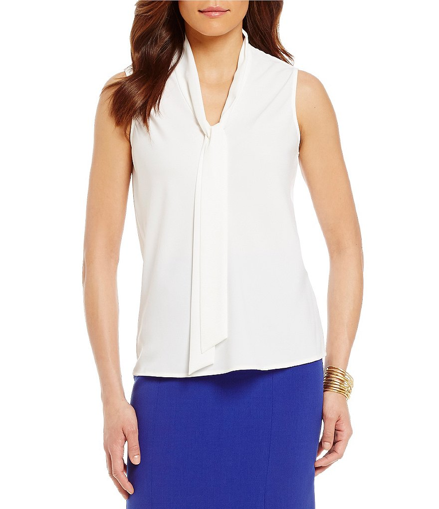 Kasper Petite Tie-Neck Sleeveless Top