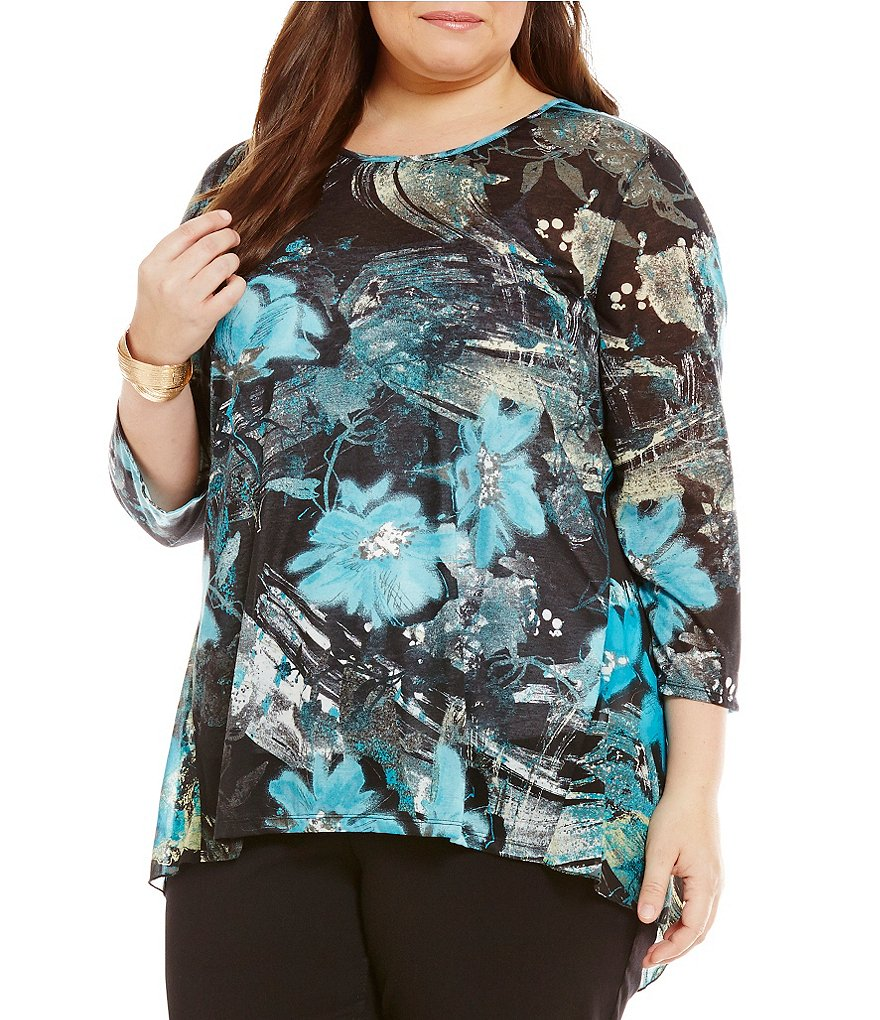 Multiples Plus Multiples Scoop-Neck Hi-Lo Printed Knit Top