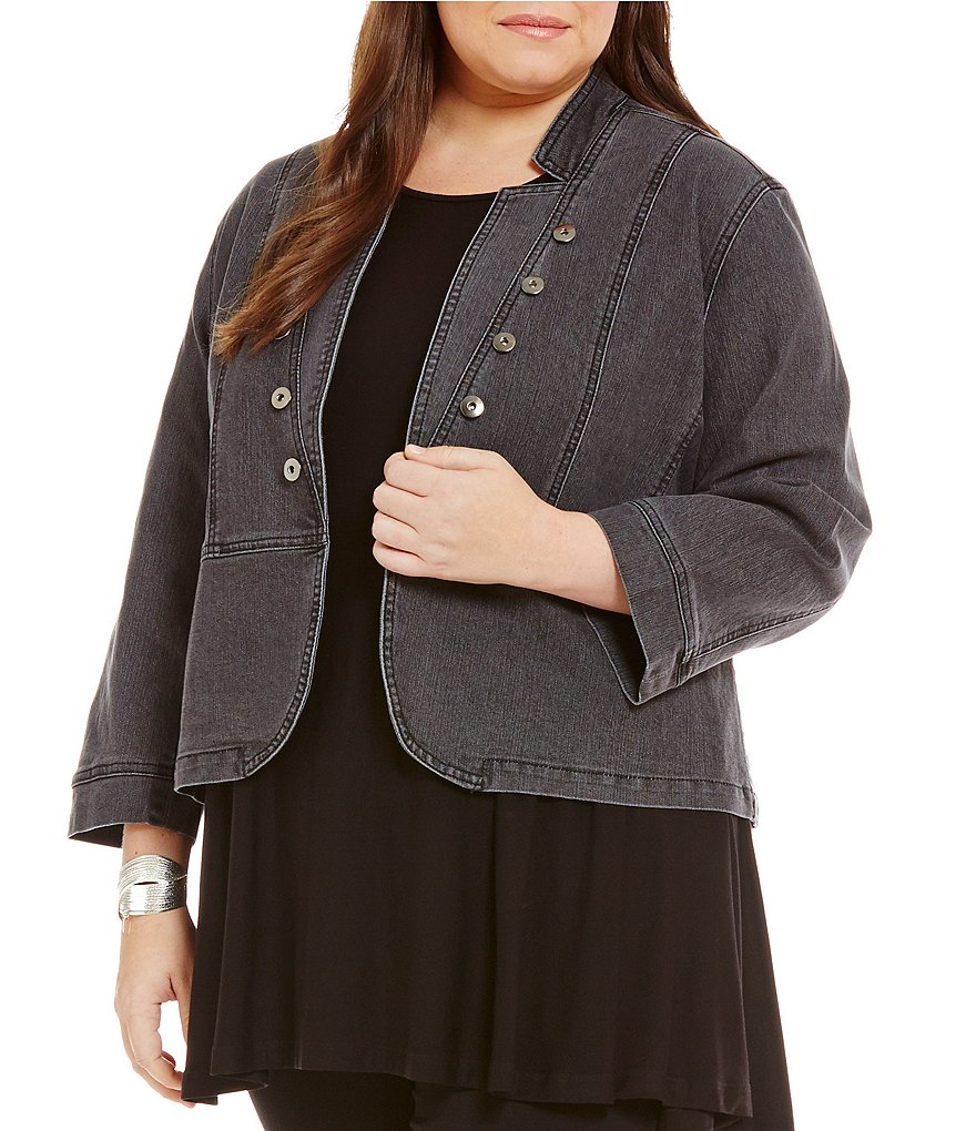 Multiples Plus Solid Peplum 3/4 Sleeve Jacket