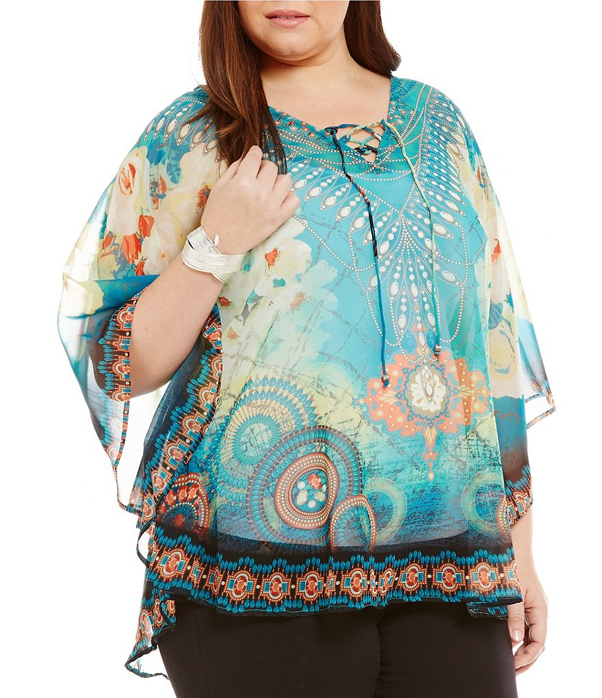 Multiples Plus Lace Tie V-Neck Placement Print Circle Poncho Top