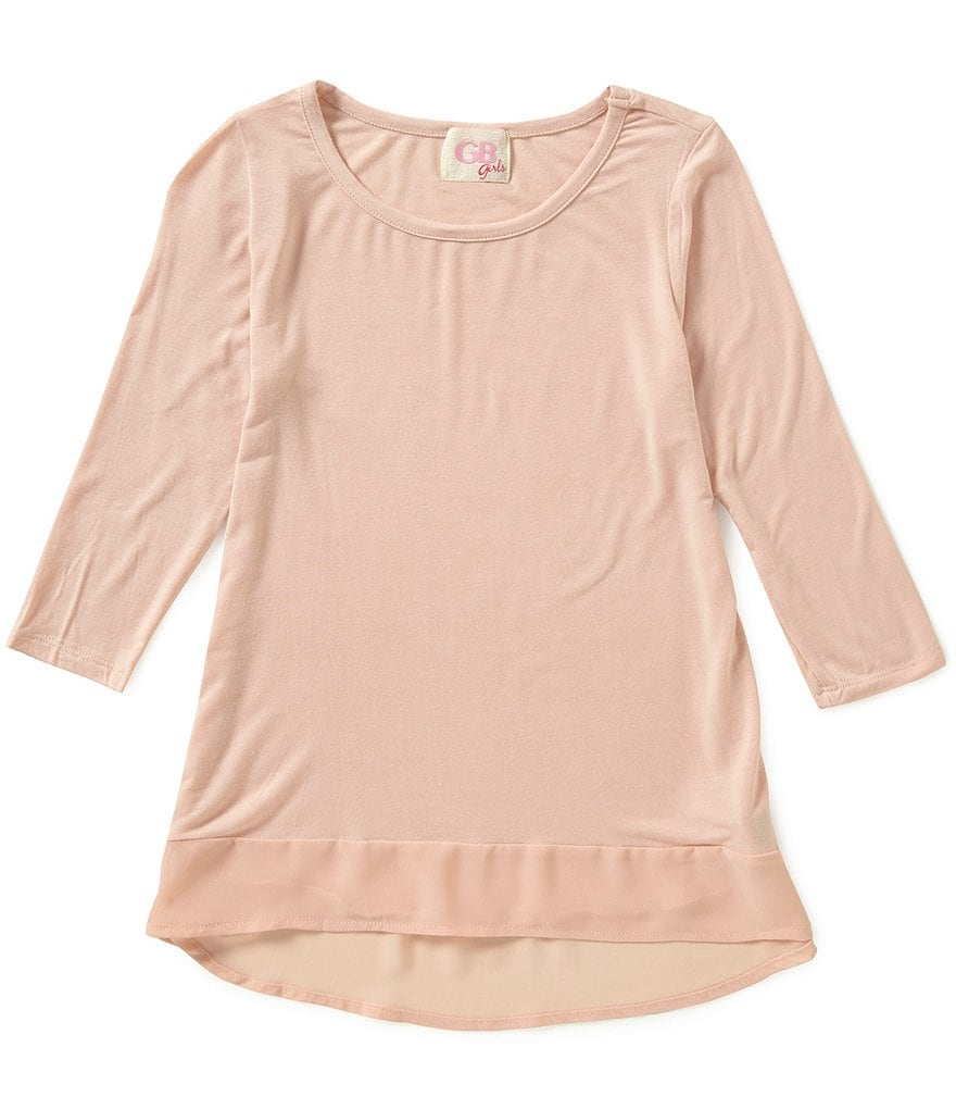 GB Girls Big Girls 7-16 ¾ Sleeve Chiffon Hem Tee