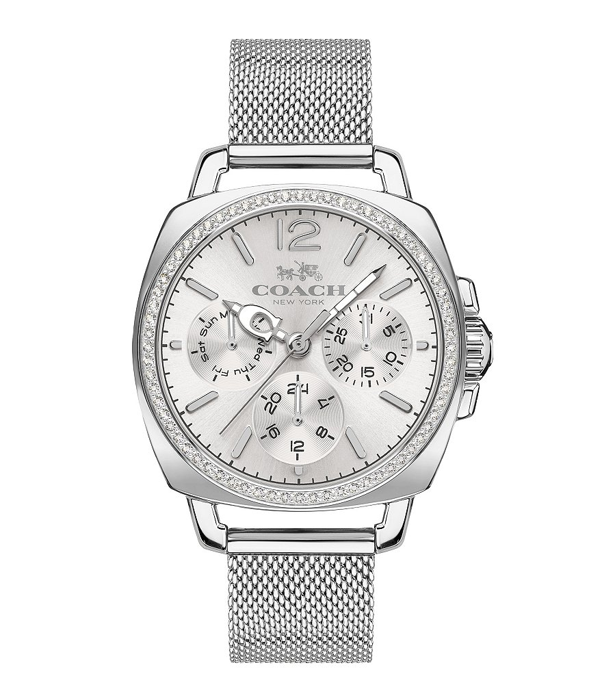 COACH BOYFRIEND STAINLESS STEEL MESH BRACELET WATCH