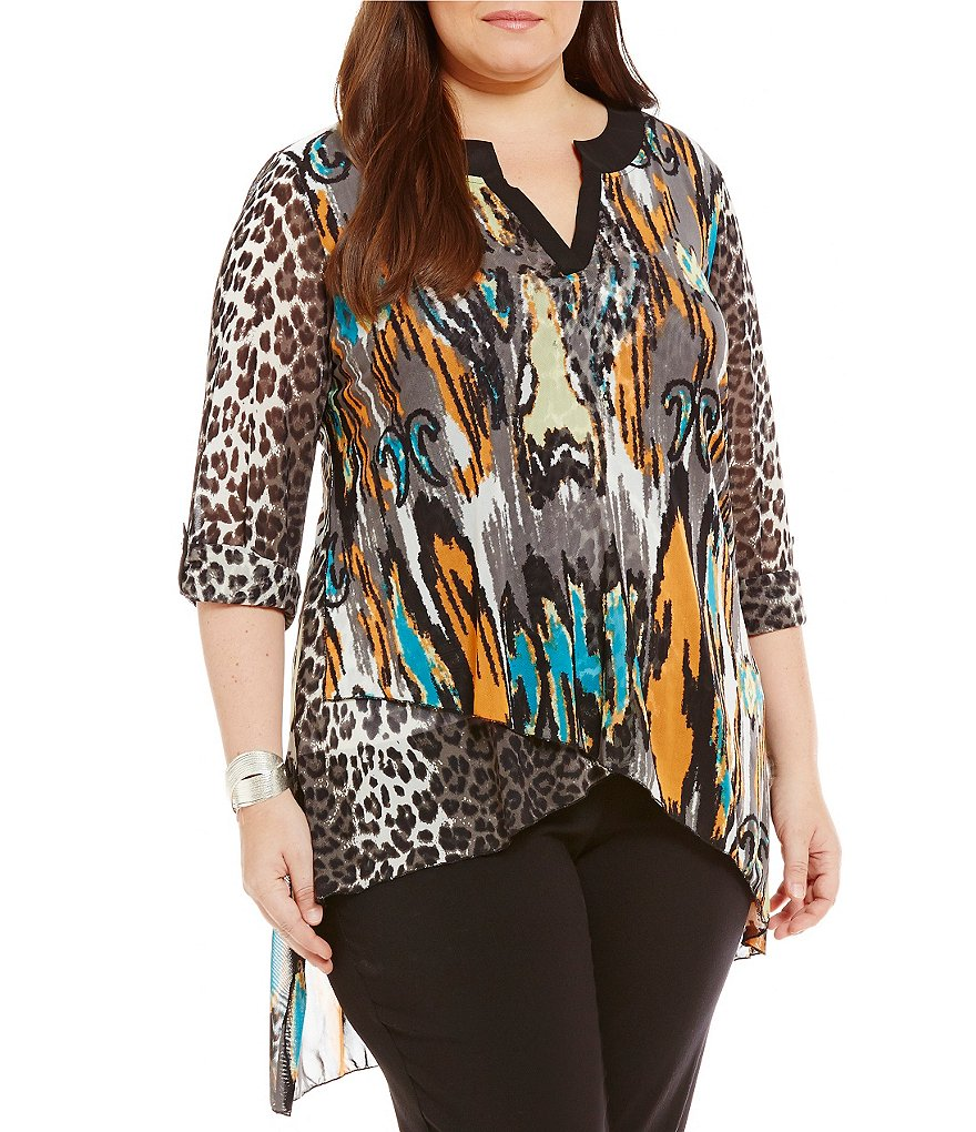 Multiples Plus Hi-Lo Abstract Animal Print Cuffed Long Sleeve Top
