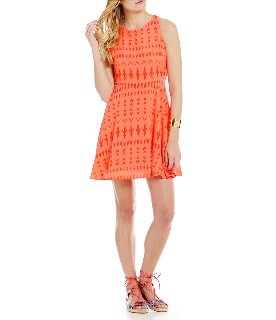 GB Tribal Fit-and-Flare Dress