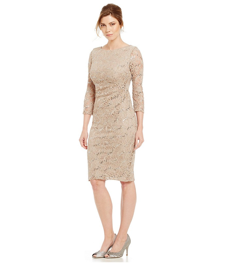 Jessica Howard Lace Side Ruched Sheath Dress