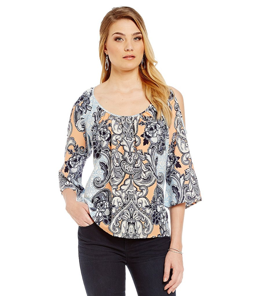 Gibson & Latimer Scroll-Print Cold-Shoulder Blouse